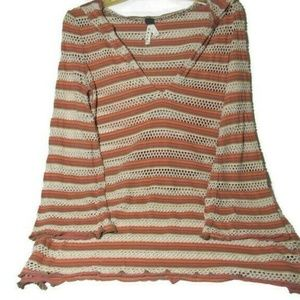 Boho We The Free Hooded Top Open Knit Long Bell
